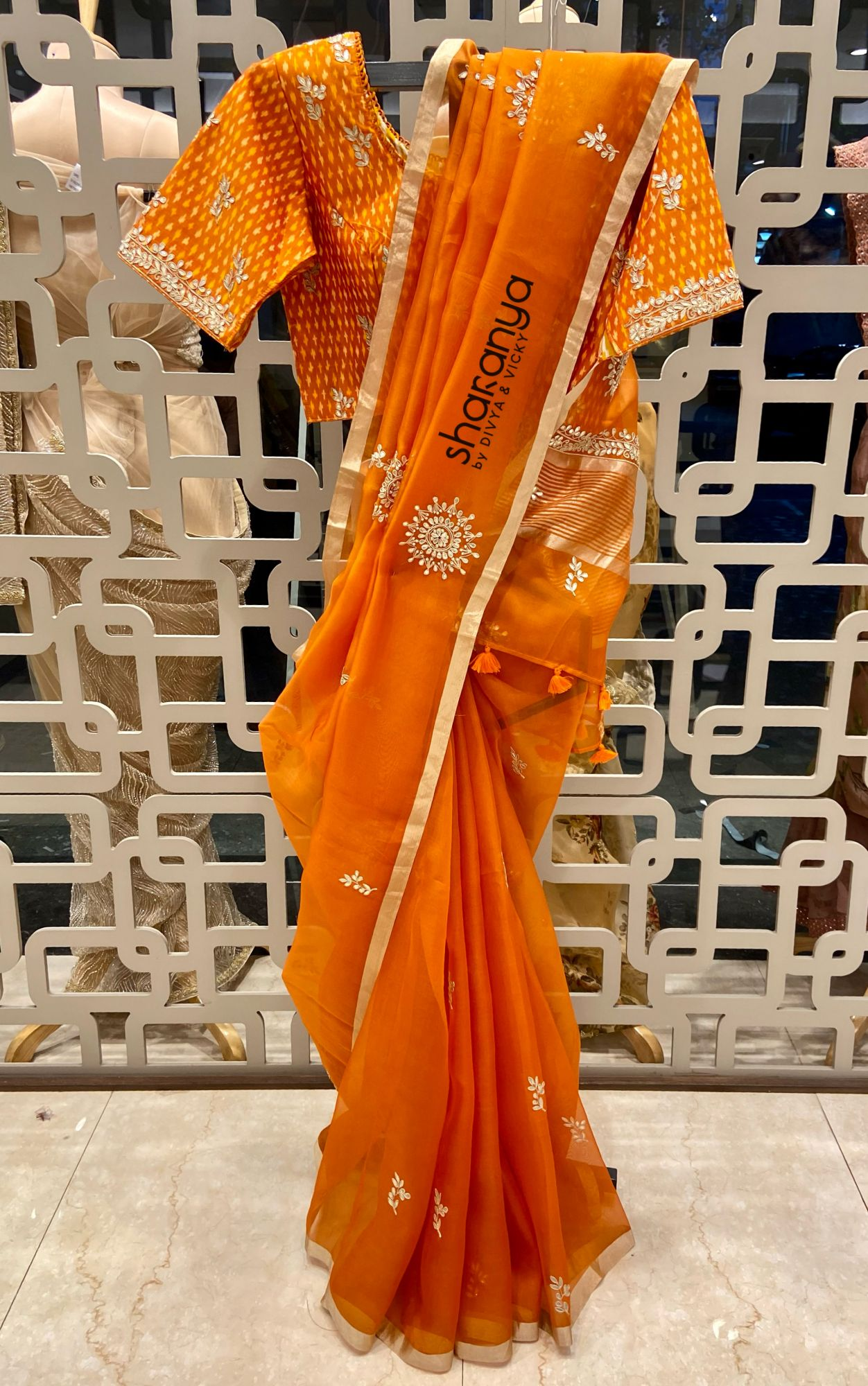 Orange Organza Saree