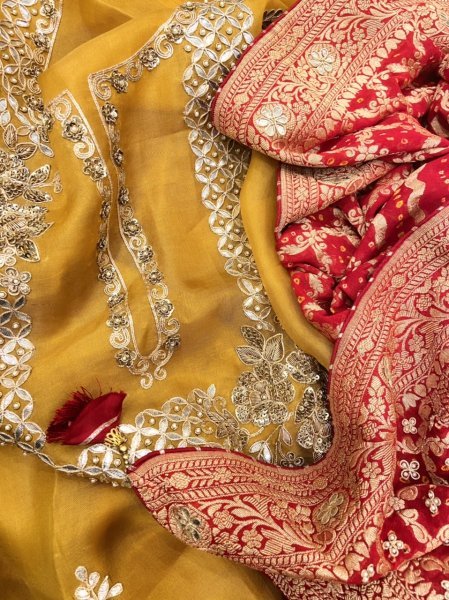 Mustard Yellow toned Pure Organza suit