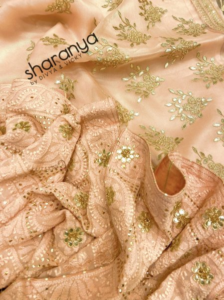 Pastel Peach Pure Organza Suit