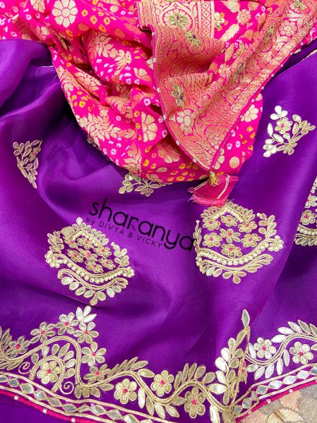 Jewelled Purple  Pure Organza Unstitched Suit