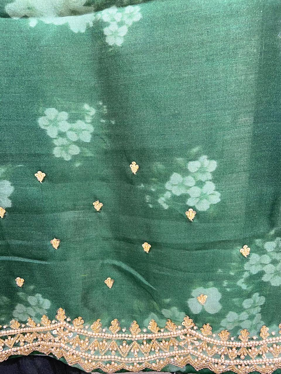 Dark Bottle Green Floral Printed Zardousi Saree