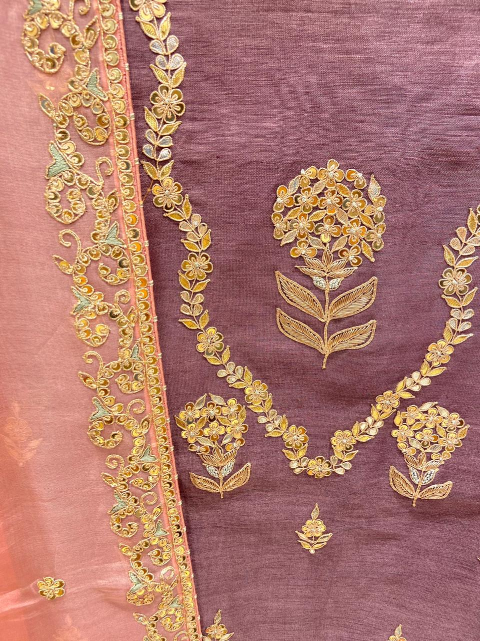 Lavender with pale pink Pure Linen Hand Embroidered Suit