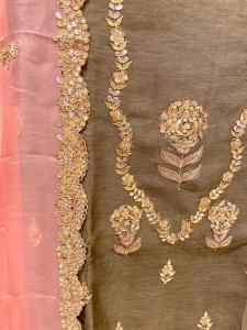 Jade olive green with pale pink Pure Linen Hand Embroidered Suit