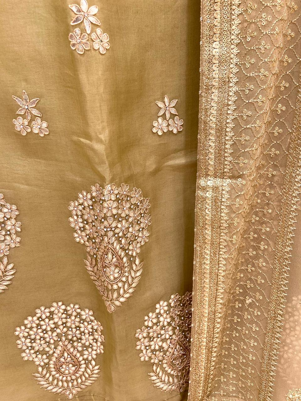 Pure Organza Zardousi Gota Patti Embroidered Suit