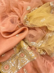 Blush Peach and Mustard Yellow Pure Organza Suit