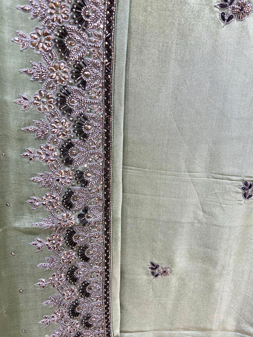 Dull Olive Pure Crepe Hand Embroidered Suit